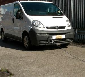 Towing van to demonstrate strength of Adiseal bonding metal
